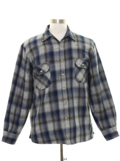 1980's Mens Lined Wool Blend Flannel Shirt