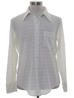 1970's Mens Subtle Textured Print Disco Shirt