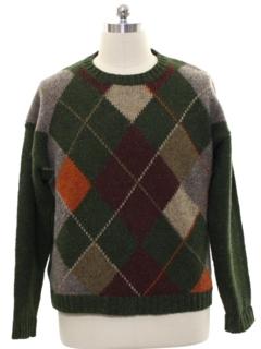 1980's Mens Wool Argyle J Peterman Sweater