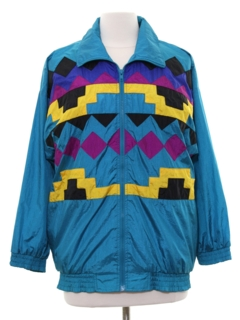 1980's Womens Totally 80s Hip Hop Style Windbreaker Jacket