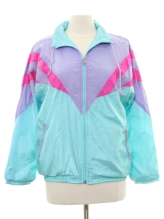1980's Womens Totally 80s Windbreaker Style Track Jacket