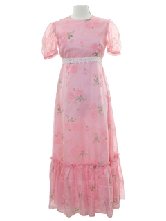 1970's Womens Hippie Prom Or Cocktail Maxi Dress