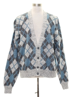 1980's Mens Totally 80s Argyle Cardigan Sweater