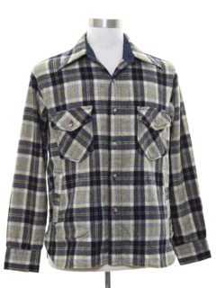 1970's Mens Wool Blend Flannel Shirt