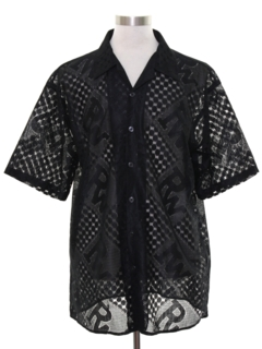 1990's Mens Wicked 90s Club or Rave Style Lace Shirt