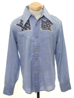 1970's Mens Hippie Style Chambray Western Shirt