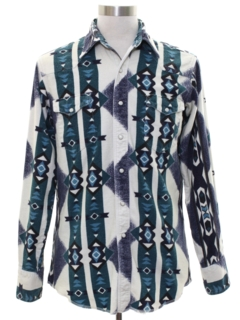 1990's Mens Geometric Print Southwestern Style Flannel Western Shirt