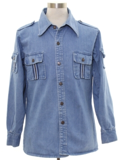 1970's Mens Denim Safari Shirt Jacket