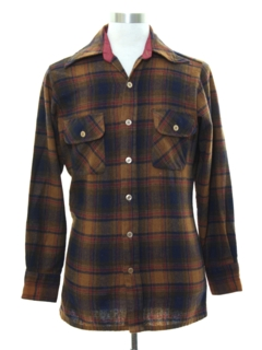 1970's Mens Mod Wool Flannel Shirt
