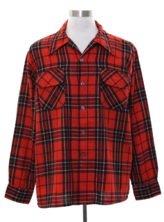 1970's Mens Lumberjack Plaid Wool Flannel Board Shirt