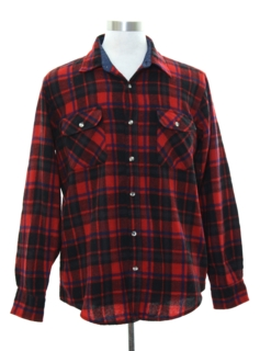 1980's Mens Lumberjack Plaid Wool Flannel Shirt