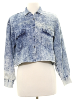 1980's Womens Totally 80s Acid Washed Look Shirt