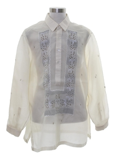 1970's Mens Sheer Hippie Style Tunic Shirt