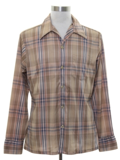 1970's Mens Plaid Print Disco Shirt