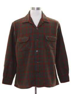 1960's Mens Mod Wool Plaid Board Style Sport Shirt