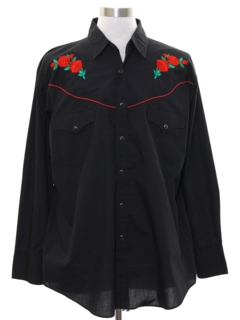 1980's Mens Embroidered Hippie Style Western Shirt
