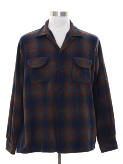 1950's Mens Wool Blend Flannel Board Shirt