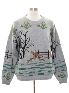 1980's Mens Totally 80s Hunting Themed Sweater