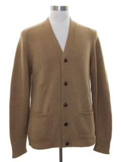 1960's Mens Mod Camel Hair Cardigan Sweater
