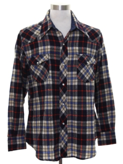 1970's Mens Wool Blend Flannel Lumberjack Plaid Western Shirt