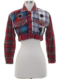 1980's Womens Totally 80s Cropped Flannel Shirt Jacket