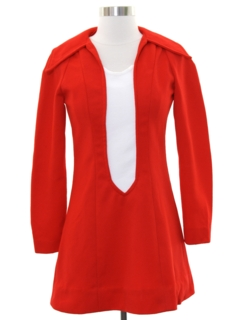 1960's Womens Mod Knit Mini A-Line Go-Go Dress