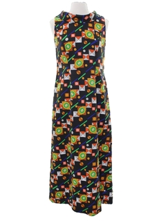 1960's Womens Mod Op-Art Maxi Shift Dress