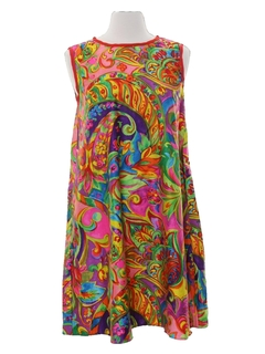 1960's Womens Hippie A-Line Shift Tent Dress