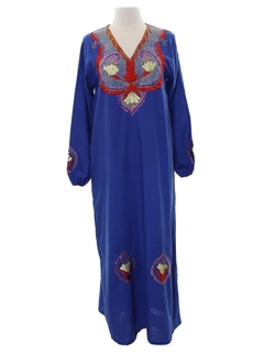 1970's Womens Maxi Hippie Caftan Dress