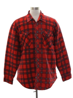 1980's Mens Lined Jumberjack Plaid Flannel CPO Shirt Jacket