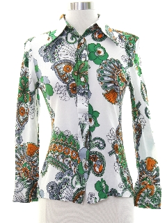 1970's Womens or Girls Print Disco Hippie Shirt
