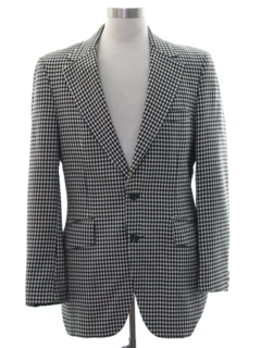 1970's Mens Checkered Disco Blazer Sport Coat Jacket