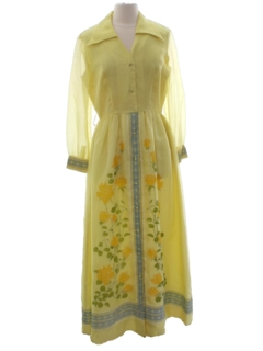 1960's Womens Designer Hawaiian Maxi Dress
