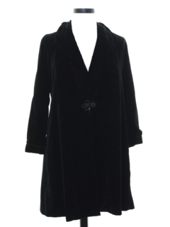 1970's Womens Velveteen Evening Duster Coat Jacket