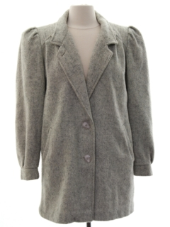 1980's Womens Totally 80s Wool Coat Jacket