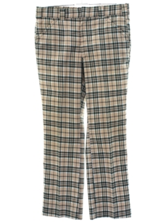 1970's Mens Flared Plaid Golf Style Leisure Pants