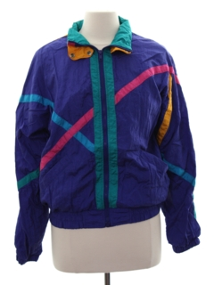 1980's Womens Totally 80s Style Windbreaker Style Jacket