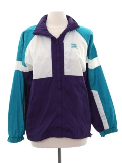 1980's Womens Totally 80s Style Windbreaker Zip Jacket