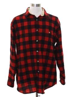 1980's Mens Grunge Lumberjack Plaid Flannel Shirt
