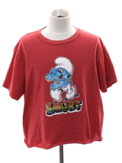 1980's Womens Totally 80s Smurf TV Show Cropped T-Shirt