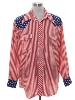 1970's Mens Oh So Subtle Patriotic Western Shirt