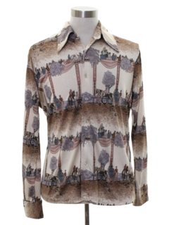 1970's Mens Art Print Disco Shirt