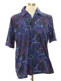 1970's Mens Designer Resort Wear Style Print Disco Shirt