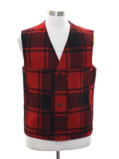 1980's Mens Lumberjack Plaid Wool Pendleton Vest