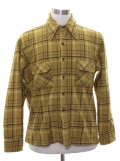 1970's Mens Mod Wool Flannel Board Shirt