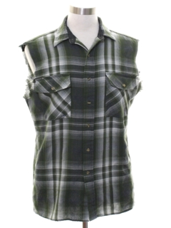 1990's Unisex Grunge Cut Off Sleeveless Joe Dirt Style Flannel Shirt