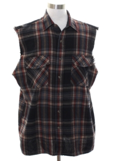 1990's Mens Grunge Cut Off Sleeveless Joe Dirt Style Flannel Shirt