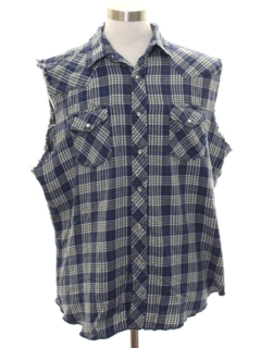 1990's Mens Grunge Cut Off Sleeveless Joe Dirt Style Western Flannel Shirt