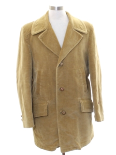 1970's Mens Mod Corduroy Car Coat Style  Overcoat