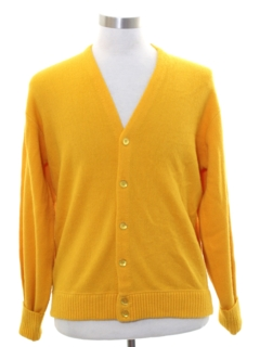 1970's Mens Mod Cardigan Golf Sweater